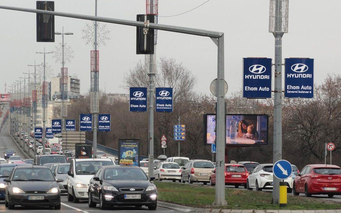 Ehom Auto - Hyundai baneri na Brankovom mostu, Beograd