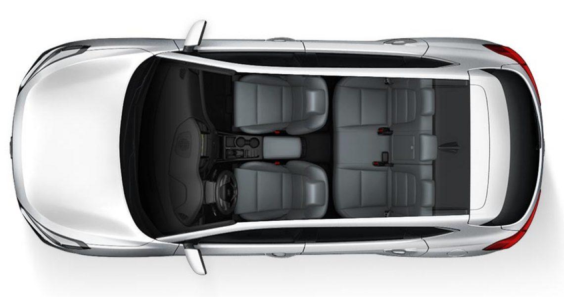 Hyundai Tucson - enterijer iz ptičije perspektive