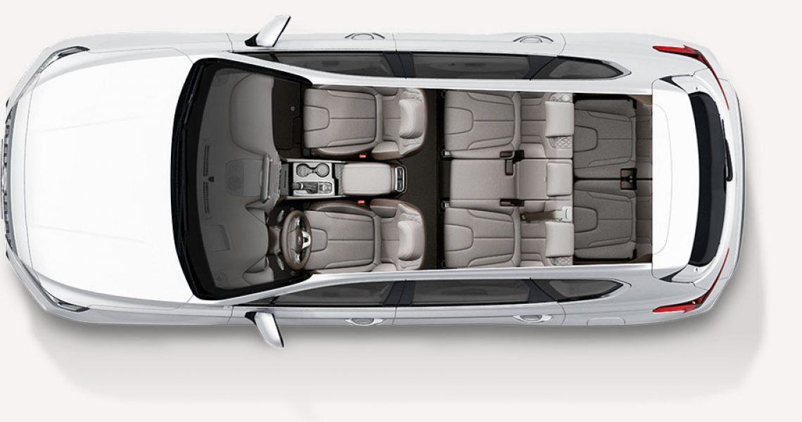 Hyundai Santa Fe - enterijer iz ptičije perspektive